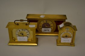 Three Various Swiza Brass Cased Mantel Clocks, Together