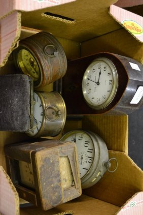 Edwardian Mantel Clock, Carriage Clock And Case (a/f)
