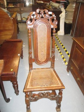 Late 17th Century Carved Oak Side Chair With Cane Seat