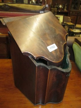 George Iii Mahogany Serpentine Fronted Knife Box With