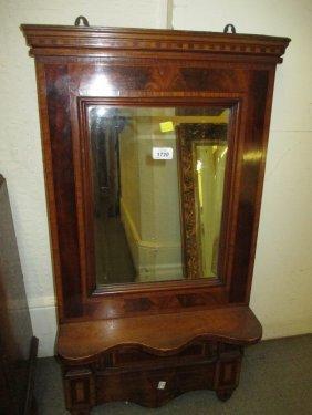 19th Century Mahogany And Inlaid Hanging Wall Mirror