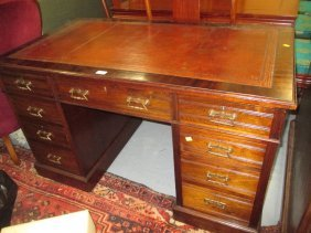 19th Century Mahogany Twin Pedestal Desk Having Red