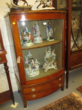 Edwardian Satinwood And Inlaid Bow Fronted Display