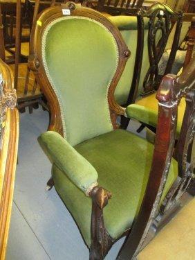 Victorian Carved Walnut Open Armchair Raised On