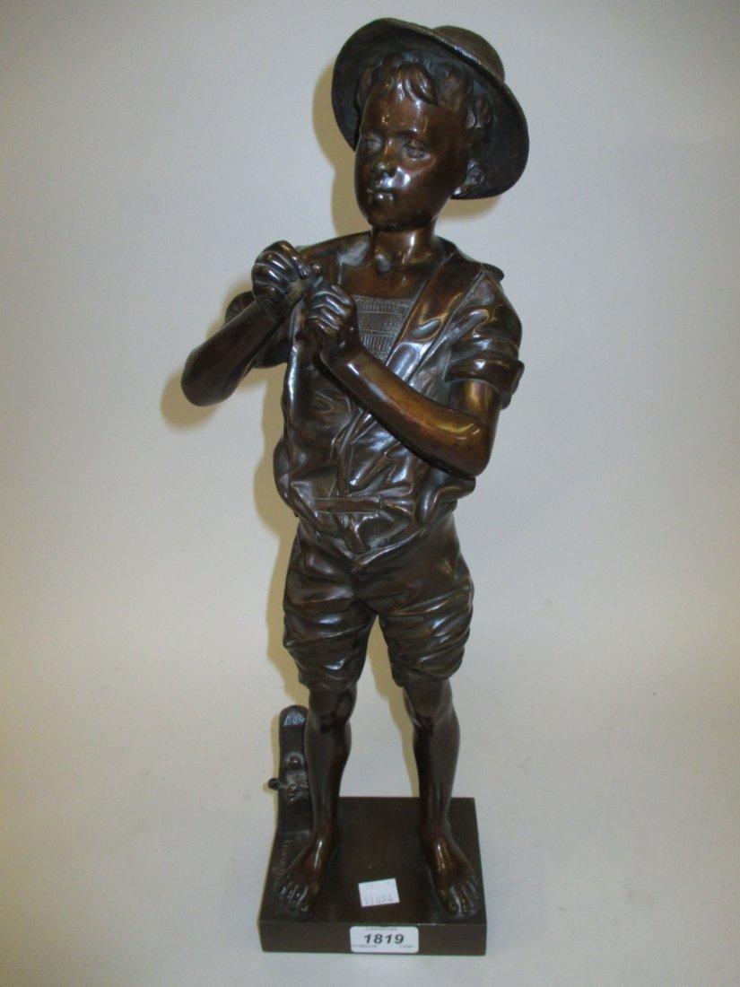 19th Century dark patinated bronze figure of a boy