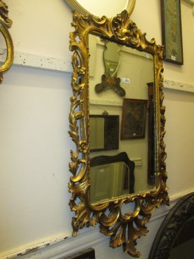 Rectangular Giltwood Hanging Wall Mirror With Pierced