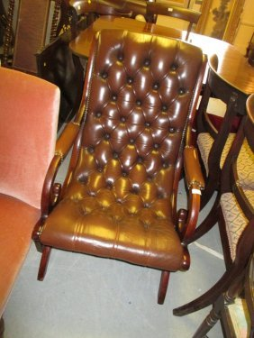 Pair Of 20th Century Mahogany And Brown Button Leather
