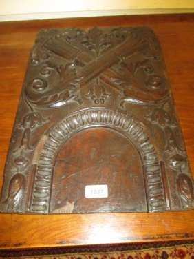 17th Century Continental Carved Walnut Panel Decorated