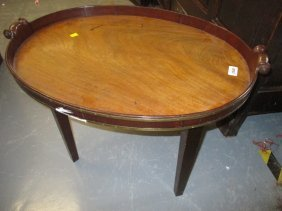 George Iii Oval Mahogany Brass Banded Two Handled Tray