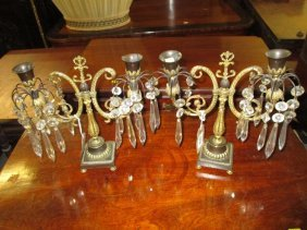 Pair Of Regency Gilded And Brown Patinated Bronze Two