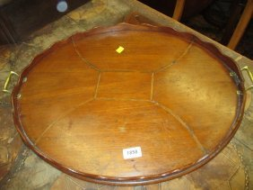 19th Century Mahogany And Inlaid Oval Galleried Tray