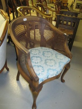 1920's Bergere Tub Chair Having Shell Carved Cabriole