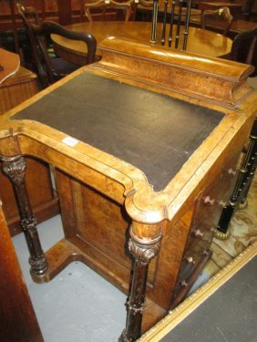 Victorian Figured Walnut And Line Inlaid Davenport, The