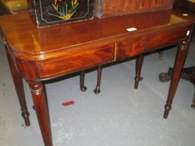 George Iii Mahogany And Line Inlaid D-shaped Fold-over