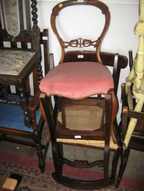 Pair Of 19th Century Rail Back Side Chairs, A Victorian