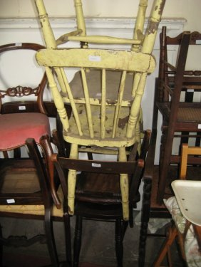 Pair Of 19th Century Rail Back Kitchen Chairs Together