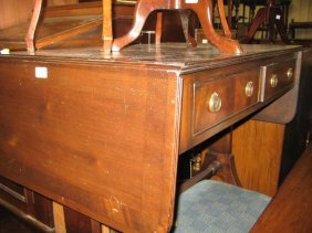 1920's Mahogany And Cross Banded Drop-leaf Sofa Table