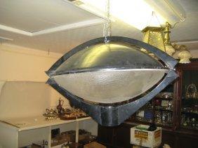 Circular Patinated Metal Flying Saucer Type Street Lamp