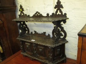 19th Century Black Forest Carved Oak Wall Cupboard