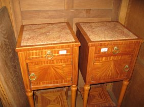 Pair Of French Satinwood Line Inlaid And Crossbanded