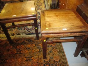 Pair Of Chinese Hardwood Square Vase Stands Raised On