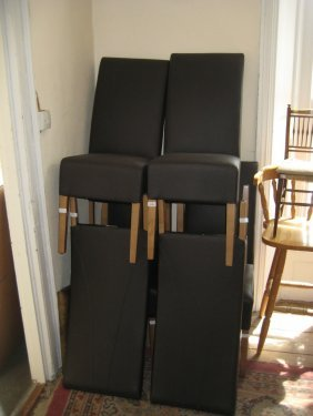 Set Of Six Leather Upholstered Dining Chairs
