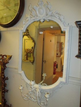 19th Century French Painted Wall Mirror With Three