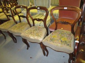 Set Of Four 19th Century Rosewood Balloon Back Dining