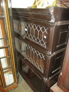 Globe Wernicke Ebonised Oak Three Section Bookcase With
