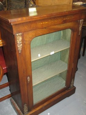 Victorian Walnut And Marquetry Inlaid Pier Cabinet With