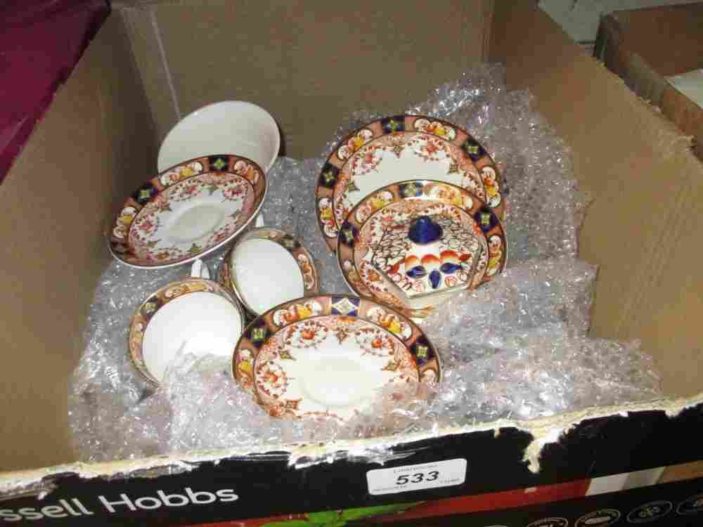 Phoenix ware red, blue and gilt decorated part teaset,