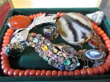 Blue John brooch a silver and amber necklace a coral