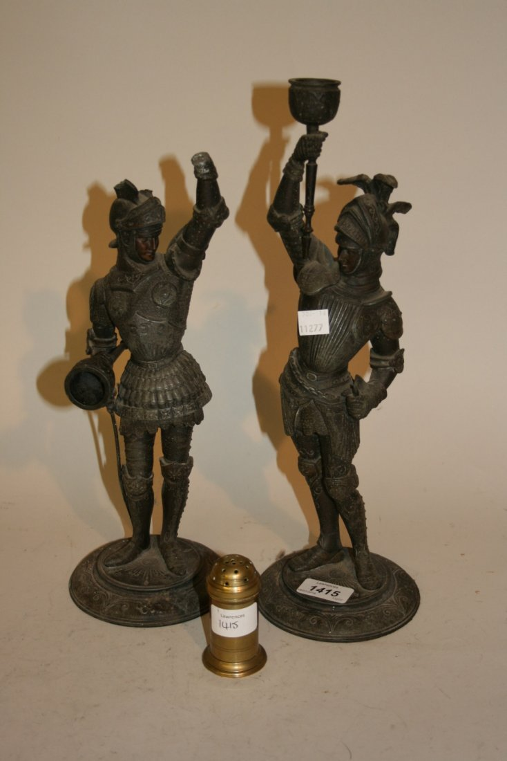 Pair of late 19th Century spelter figures of knights in