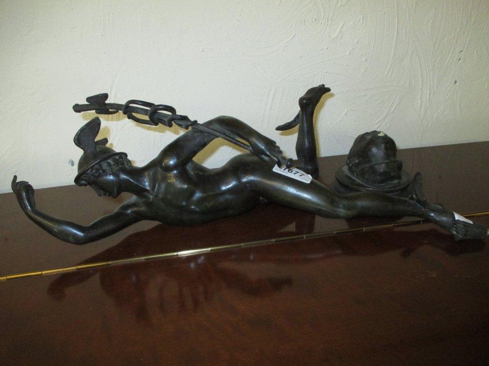 19th Century brown patinated bronze figure of Mercury,