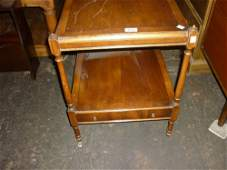 Reproduction yew wood two tier lamp table together with