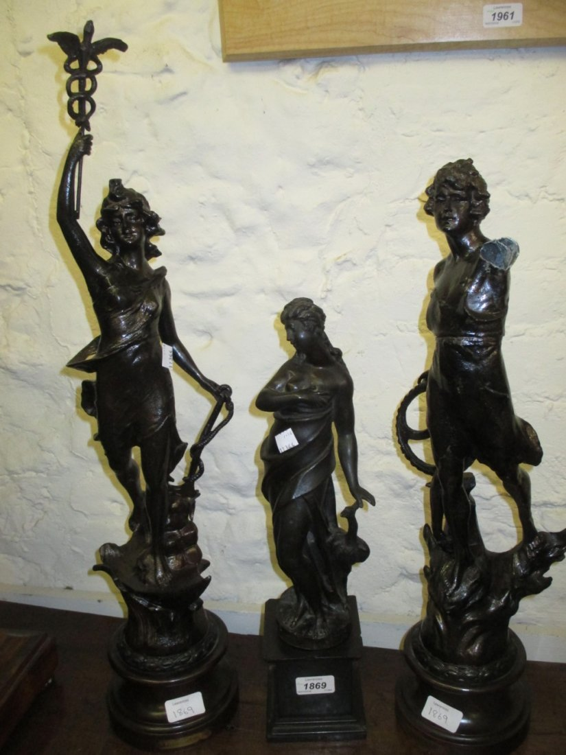Heavy patinated cast metal figure of a maiden with
