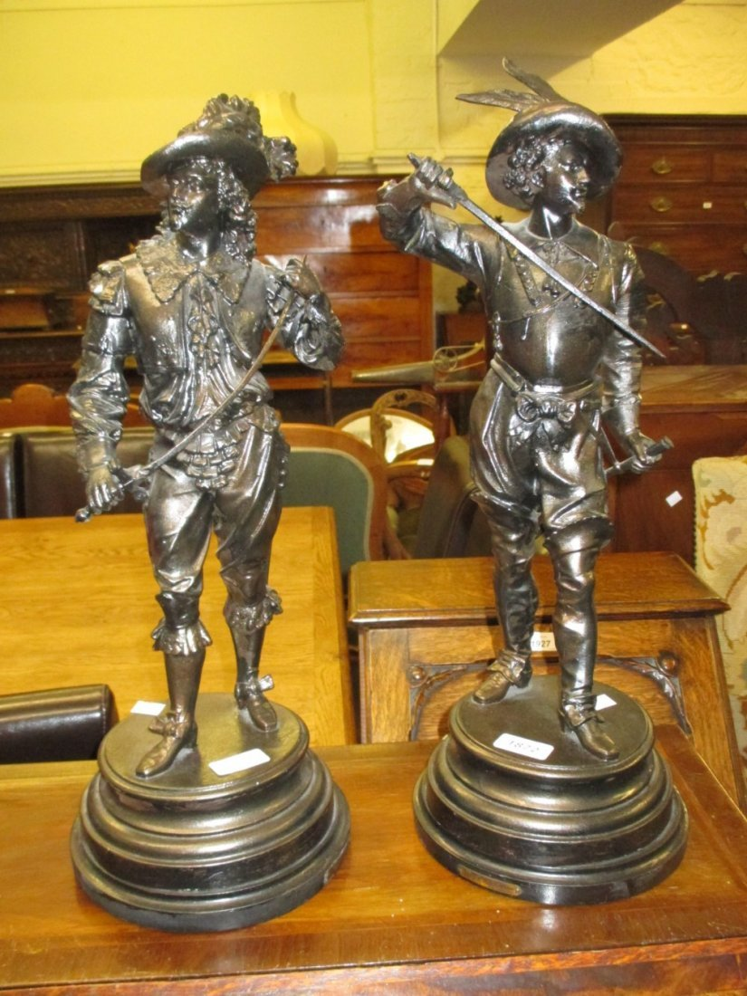 Pair of 19th Century spelter figures of 17th Century
