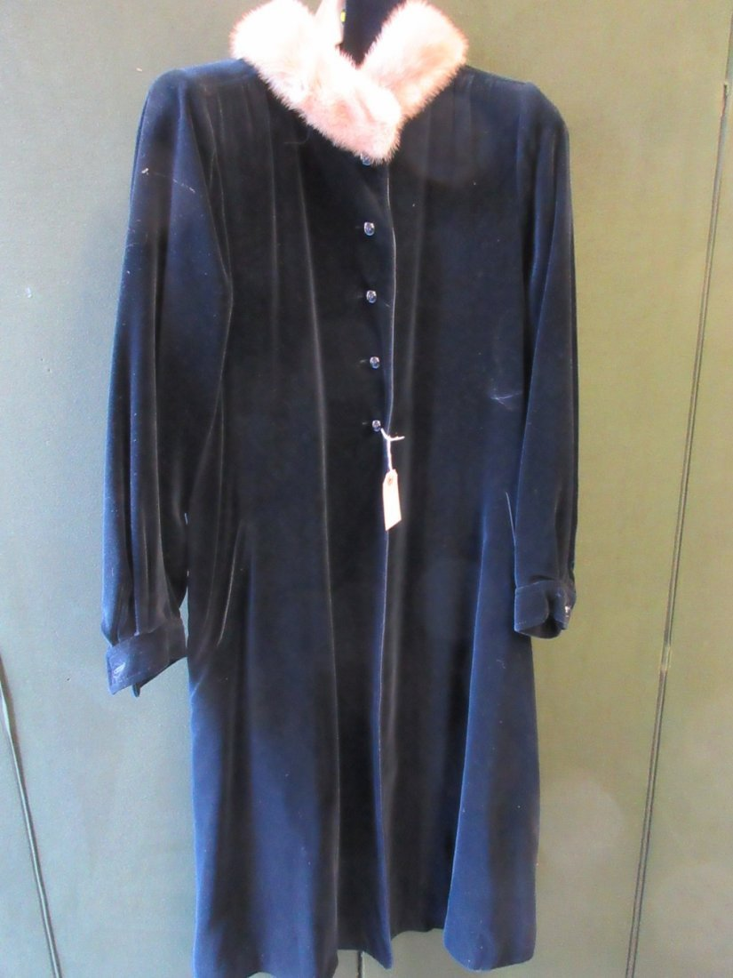 Ladies black velvet fur trimmed coat