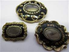 Three Victorian enamel mourning brooches