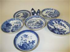 Six various Chinese blue and white saucer dishes (some