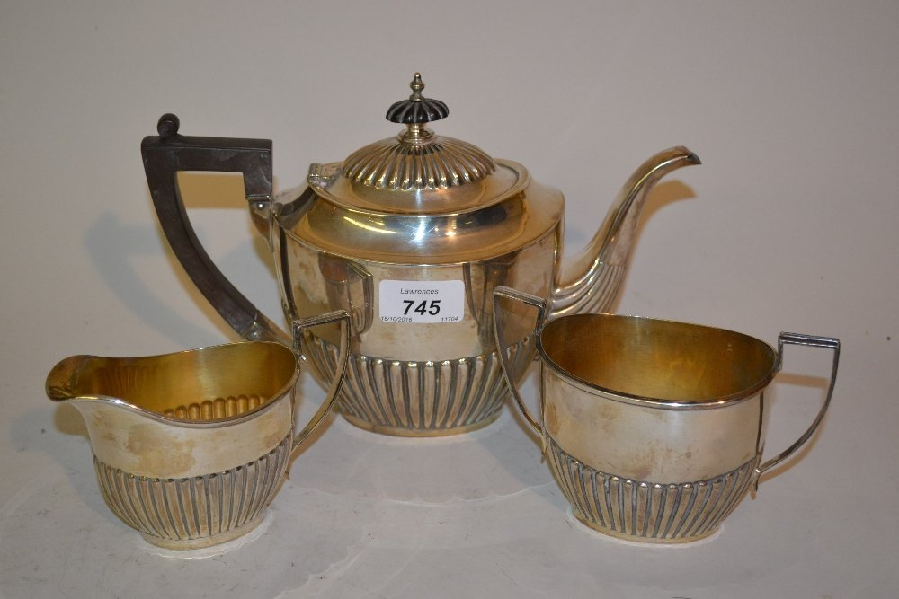 Silver plated three piece teaset