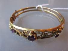 Edwardian 9ct gold amethyst and seed pearl mounted