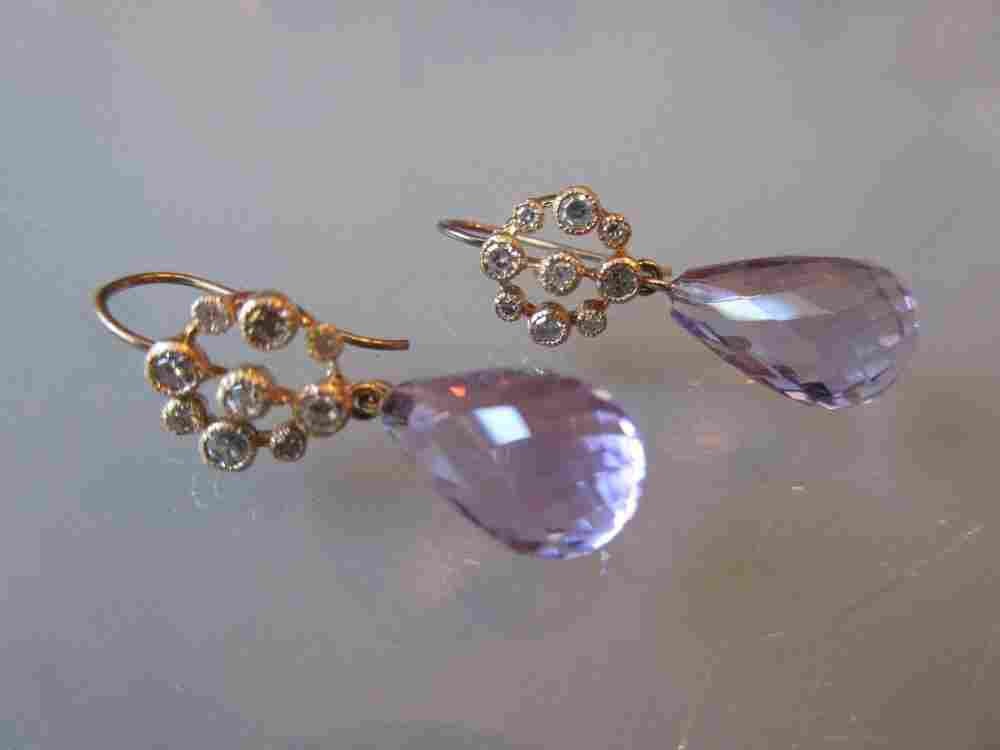 Pair of faceted amethyst and diamond drop earrings