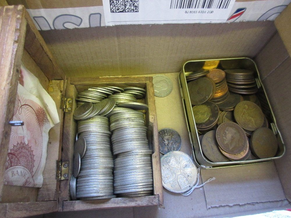 Box containing a quantity of half crowns, florins,