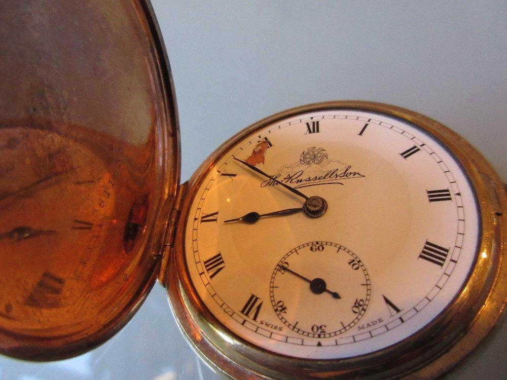 Elgin gold plated hunter pocket watch (a/f) together - 3