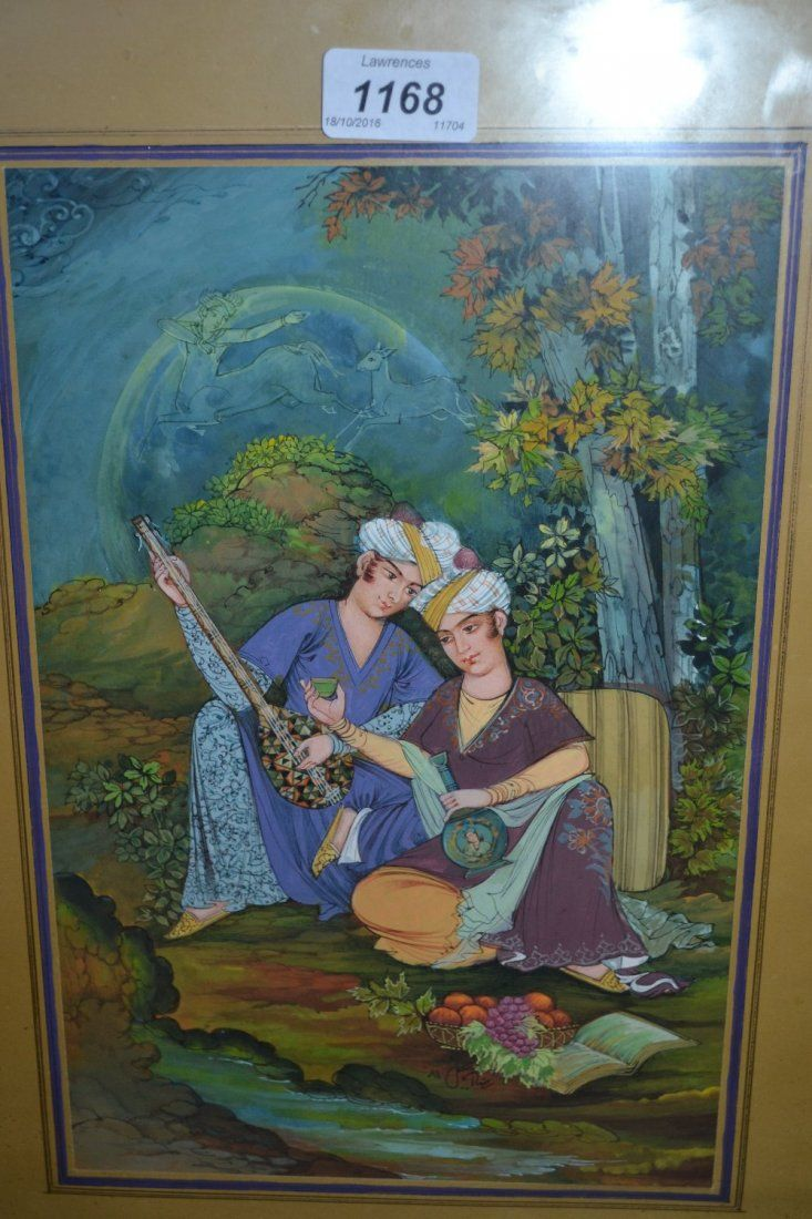 20th Century Persian school, watercolour, two seated