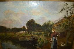 Large 19th Century oil on canvas, landscape with pond
