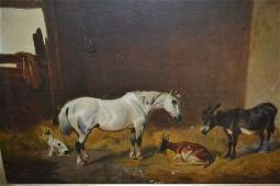 19th Century oil on canvas barn interior with horse