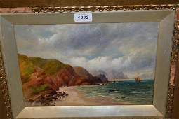 Attributed to Robert Jobling, oil on canvas, boats in a