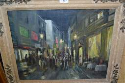 Mid 20th Century oil street scene at night with
